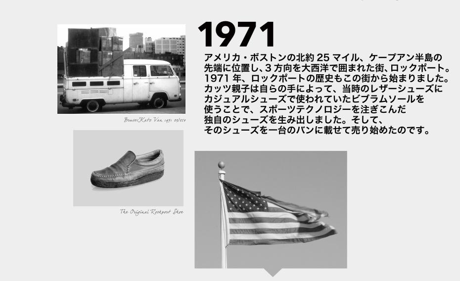 1971 アメリカ・ボストンの北約25マイル、ケープアン半島の先端に位置し、3方向を大西洋で囲まれた街、ロックポート。1971年、ロックポートの歴史もこの街から始まりました。カッツ親子は自らの手によって、当時のレザーシューズにカジュアルシューズで使われていたビブラムソールを使うことで、スポーツテクノロジーを注ぎこんだ独自のシューズを生み出しました。そして、そのシューズを一台のバンに載せて売り始めたのです。