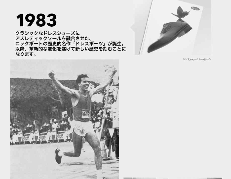 1983 クラシックなドレスシューズにアスレティックソールを融合させた、ロックポートの歴史的名作「ドレスポーツ」が誕生。以降、革新的な進化を遂げて新しい歴史を刻むことになります。